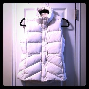 J.Crew white puffy vest Sherpa lined adjustable XS
